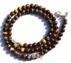 Super Rare Natural Gem Boulder Australian Opal 5.5MM Round Beads Necklace 16.5