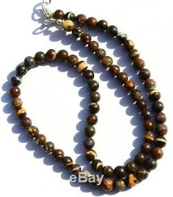 Super Rare Natural Gem Boulder Australian Opal 6MM Round Beads Necklace 17