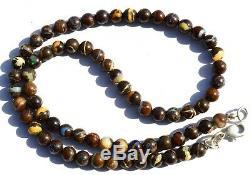 Super Rare Natural Gem Boulder Australian Opal 6MM Round Beads Necklace 17 Inch