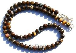 Super Rare Natural Gem Boulder Australian Opal 7MM Round Beads Necklace 17