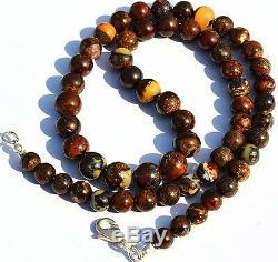 Super Rare Natural Gem Boulder Australian Opal Big 6-9MM Round Beads Necklace17