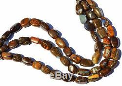 Super Rare Natural Gem Boulder Australian Opal Smooth Nugget Beads Bracelet 7.5