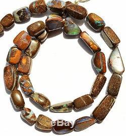Super Rare Natural Gem Boulder Australian Opal Smooth Nugget Beads Necklace 17