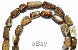 Super Rare Natural Gem Boulder Australian Opal Smooth Nugget Beads Necklace 18