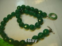 Superb Rare Big Green Faceted Agate Necklace-enamelled Lovley Silver Clasp-18