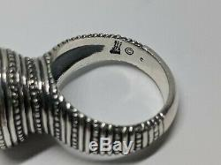 Sz 7 RARE RETIRED James Avery Sterling Silver African Beaded Black Onyx Ring