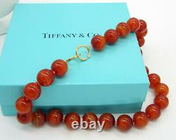 TIFFANY & CO RARE SIGNED PALOMA PICASSO 18K Gold 16MM AGATE BEAD NECKLACE