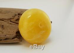 Tibetan Pendant Stone Amber Natural Baltic 21,4g Vintage Rare Old White F-943