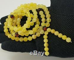 Tibetan Rosary Stone Amber Natural Baltic Bead 34,8g White White Rare Old A-189