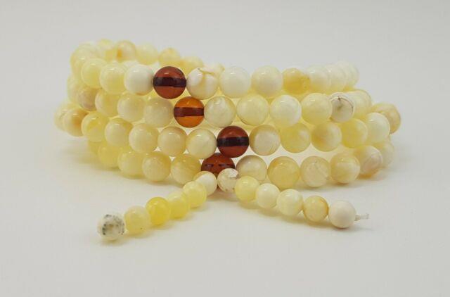 Tibetan Rosary Stone Amber Natural Baltic White Bead 16,2g Rare Old Sea A-472