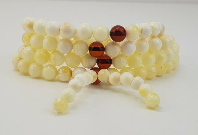 Tibetan Rosary Stone Amber Natural Baltic White Bead 17,9g Rare Sea Old A-376