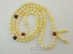 Tibetan Rosary Stone Amber Natural Baltic White Vintage Bead 16,3g Rare B-014