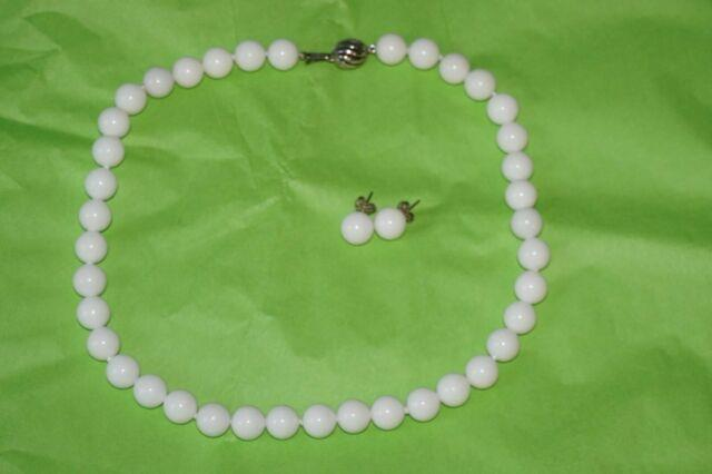 Tiffany & Co. 10 Mm Bead White Dolomite Gemstone Necklace And Earrings Set Rare