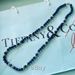 Tiffany & Co. 14K Yellow Gold Lapis Lazuli Bead Necklace ULTRA RARE EUC