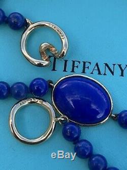 Tiffany & Co 18K Gold Angela Cummings Lapis Lazuli Cabochon Bead Necklace Rare