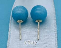 Tiffany & Co 8mm Amazonite & Sterling Silver Bead Stud Earrings. Rare VGUC