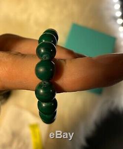 Tiffany & Co. Malachite Gemstone Bead Bracelet 8 Pouch Box Paloma Picasso RARE