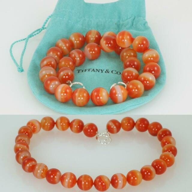 Tiffany & Co. Paloma Picasso Orange Agate Bead Rare Necklace Signed Silver Clasp