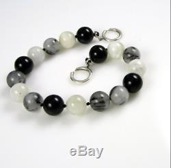 Tiffany & Co Paloma Picasso Rare Moonstone Quartz Onyx Bead Bracelet, Pouch