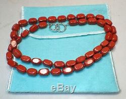 Tiffany & Co Paloma Picasso Red Agate Bead Sterling Silver Necklace 28 Rare