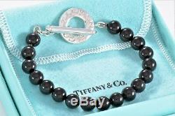 Tiffany & Co Silver Black Onyx Bead Bracelet Strand Toggle 8 Love Bracelet RARE