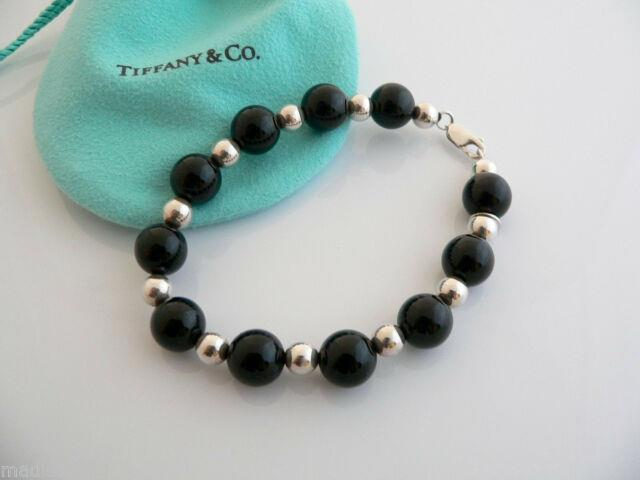 Tiffany & Co Silver Onyx Ball Bead Bracelet Bangle Chain 7.75 In Classic Rare