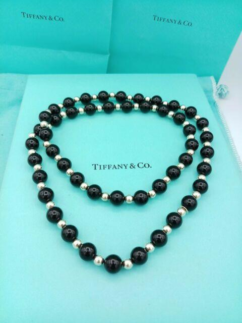 Tiffany & Co Silver Onyx Gemstone Ball Bead Necklace 30 Great Condition Rare