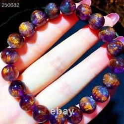 Top Natural Cacoxenite Purple Rutilated Round Beads Rare Bracelet 10.2mm AAAAA