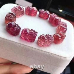 Top Natural Red Tourmaline Rare Crystal Pi Xiu Beads Bracelet 16x12x9mm AAAAAA