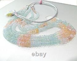 Top Rare 3 Line Santa Maria Aquamarine Morganite Necklace Shaded Bead 17.5 Inch