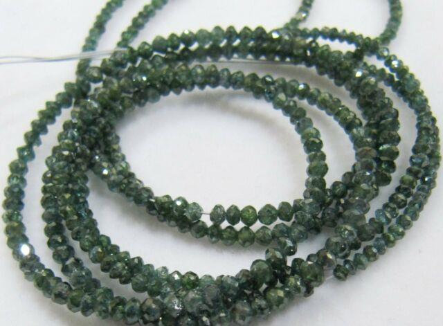 Top Rare Quality Natural Blue Diamond Rondelle Faceted Beads 2-2.5mm, Strand 4