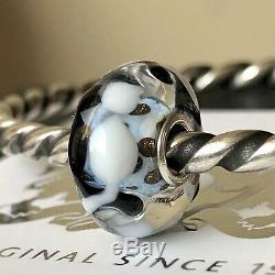Trollbeads Rare OOAK Unique Blue Black White Cats Murano Glass Charm Bead