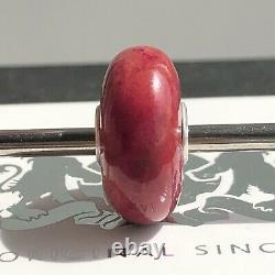 Trollbeads Retired Rare Dark Pink Crazy Agate stone bead Charm