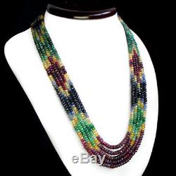 Truely Awesome Rare 629.00 Cts Natural Ruby, Emerald & Sapphire Beads Necklace