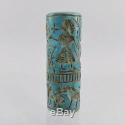 Turquoise Cylinder Seal Bead Near Eastern Rare Old Blue Green Stone #431