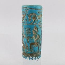 Turquoise Cylinder Seal Bead Near Eastern Rare Old Blue Green Stone #441