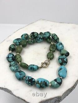 Turquoise Natural Beads Necklace Persian Rare Novelty Knotted Rg Clasp