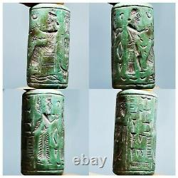 Turquoise old rare Near Eastern cylinderseal intaglio stone Bead # 133