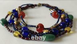ULTRA RARE Alice Kuo Signed Carved Gemstone Cloisonné Multi-Strand Necklace