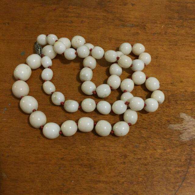 Very Rare 21.75 54.4g Angelskin White Coral Round 7mm-10mm Bead Necklace Strand