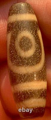 Very Old Rare Ancient Tibet 2 Eye Agate Dzi Gzi Prayer Bead Stone Pendant Amulet