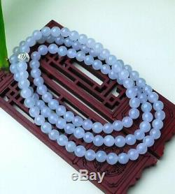 Very Rare Certified Grade A Icy Glassy Translucent Jadeite Jade Beads Necklace