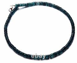 Very Rare Gem Natural Green Kyanite 6.5MM Faceted Heishi Beads 16 Necklace