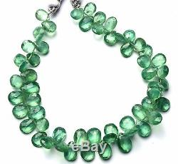 Very Rare Gem Natural Nepal Green Kyanite Facet Pear Shape Briolette Beads 8.5
