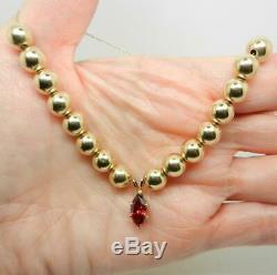Vintage 14k Yellow Gold Bead & Garnet Pendant Necklace 19.5 Rare Lb3078