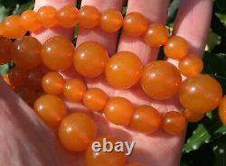 Vintage Antique Rare Genuine Soviet Real Baltic Amber Stone Necklace Beads 66g