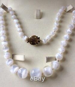 Vintage Beautiful Rare White Cat's Eye Gemstone Round Moonstone Beads Necklace