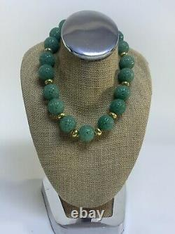 Vintage Estate 18k Yellow Gold Large Hand Craft Jade Ball Necklace Rare