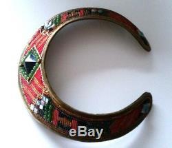 Vintage HANSEN DESIGN RARE Handmade Natural Stones Beaded Brass Choker