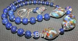 Vintage Italian Murano Rare Glass Beads Lapis Lazuli Stone Necklace 925 J243